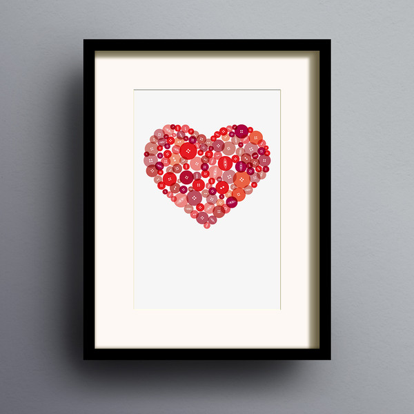 Button Heart in Red print by Dig The Earth