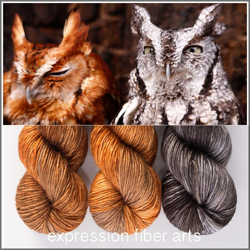 Pre-Order YOU'RE A HOOT PEARLESCENT WORSTED 'NOVELLO' SHAWL KIT