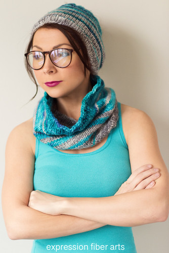Echoes of Color Knitted Cowl and Ear Warmer Pattern