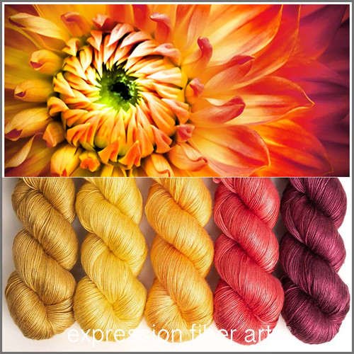 FLAME DAHLIA HUES PEARLESCENT FINGERING KIT