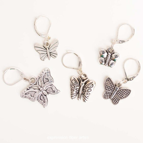 Assorted Butterflies 5-Pack Opening Stitch Markers