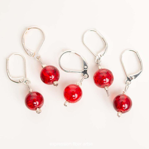 Fire Red 5-Pack Opening Stitch Markers