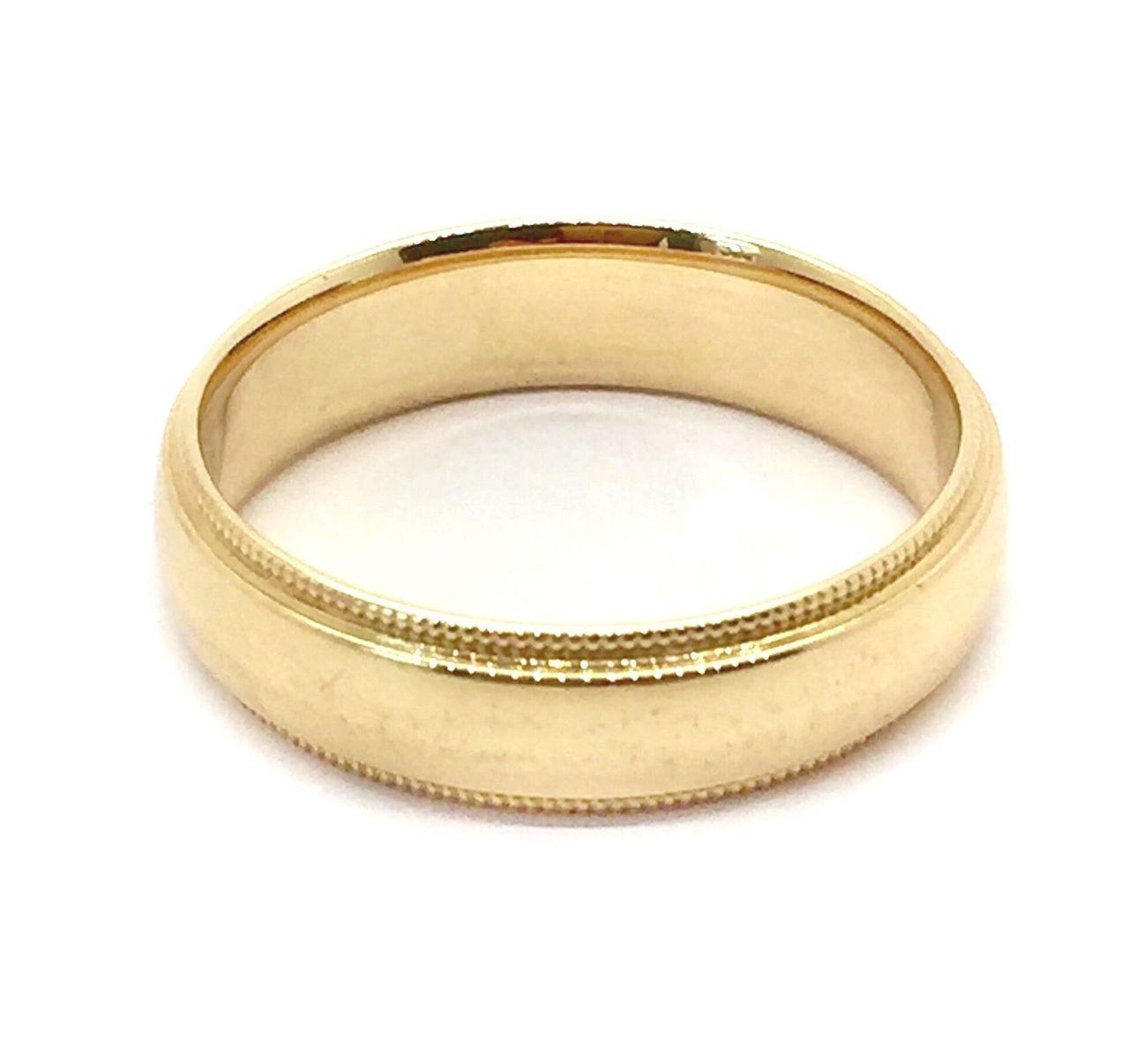 Solid 14K Yellow Gold 5 MM Size 11 Milgrain Wedding Ring Band Mens ...