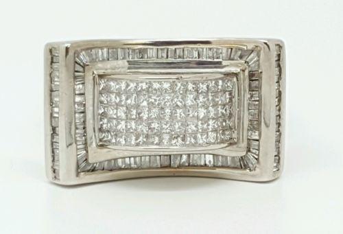 Mens Diamond Ring 14k White Gold Princess Cut Invisible Setting 416