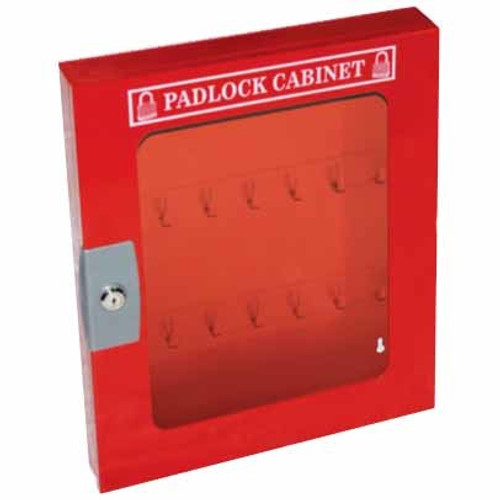 Padlock Cabinet with Clear Fascia - 28 hooks & 55 Locks - PS-LOTO-PCCF2855
