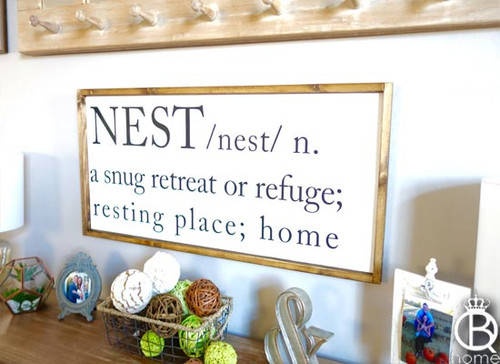 Nest Framed Wood Sign