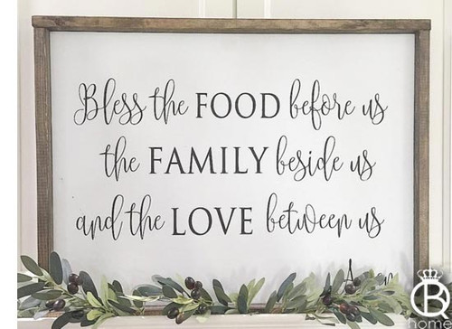 """Bless The Food Before Us Wood Sign 36""""x16"""""""