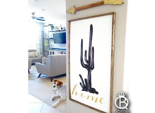Saguaro Silhouette Cactus Framed Wood Sign
