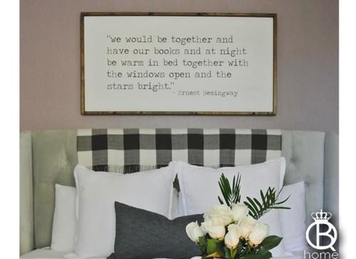 Ernest Hemingway Framed Wood Sign