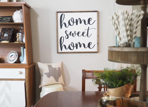 Home Sweet Home Chunky Font Framed Wood Sign