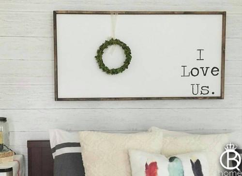 I Love Us Large Framed Wood Sign