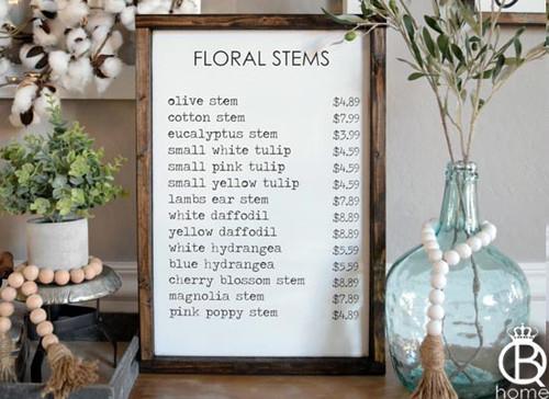 Floral Stems Framed Wood Sign