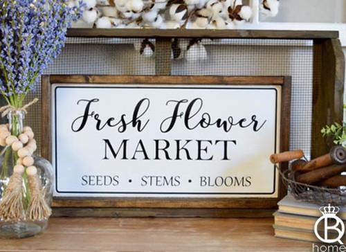 Fresh Flower Market Framed Wood Sign