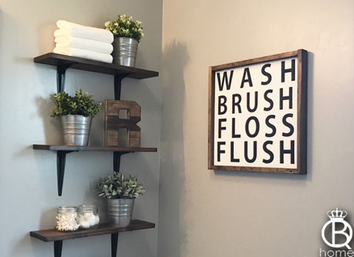 Wash Brush Floss Flush Framed Wood Sign 16x16