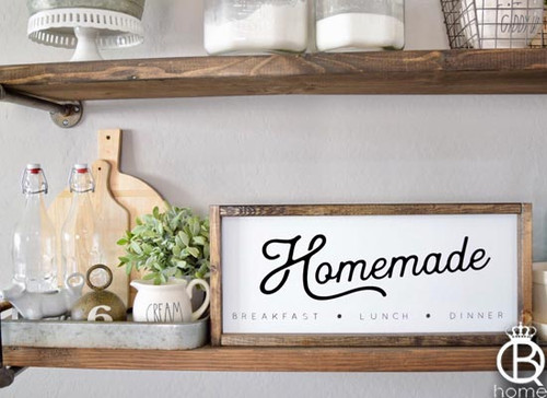 Homemade Kitchen Framed Wood Sign 20x8