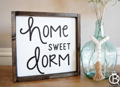 Home Sweet Dorm Framed Wood Sign