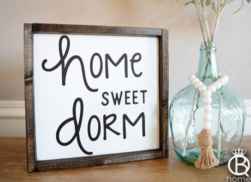 Home Sweet Dorm Framed Wood Sign