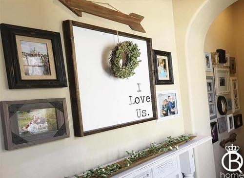 I Love Us Typewriter Framed Wood Sign 16x16