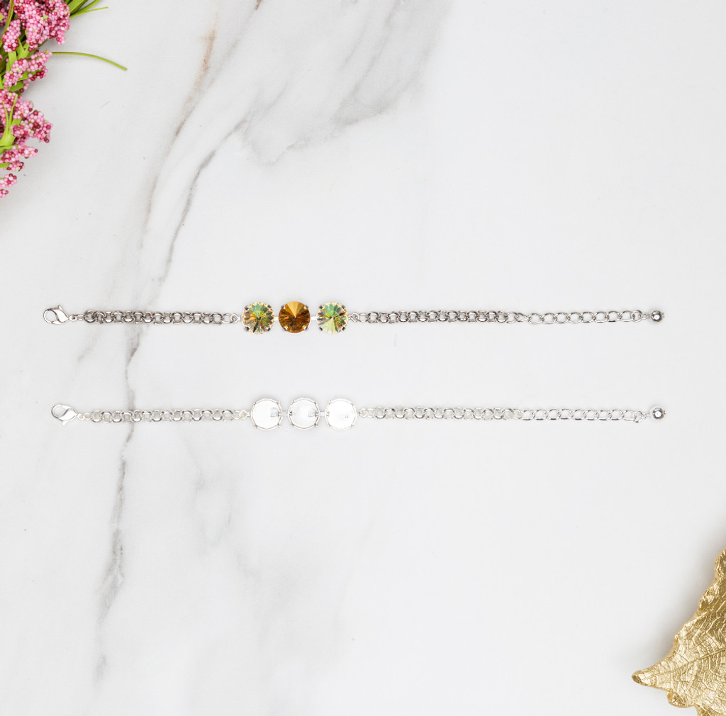 12mm Round | Classic Three Setting Bracelets | Three Pieces