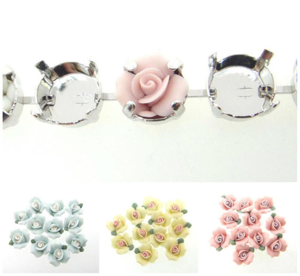 11mm | Ceramic Flower Rose Element | 12 Pieces