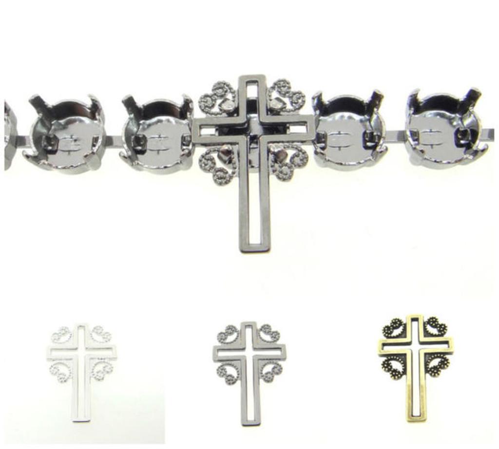 8.5mm   Filigree Cross Element   Six Pieces