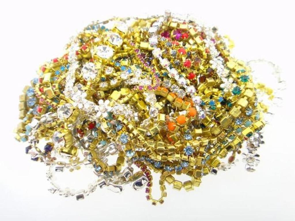 Austrian Crystal Rhinestone Chain Assorted Mixed Scrap Lot 10 Feet