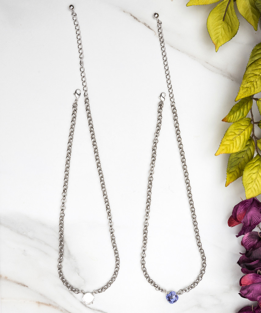 12mm Square   Pendant Necklace   Three Pieces