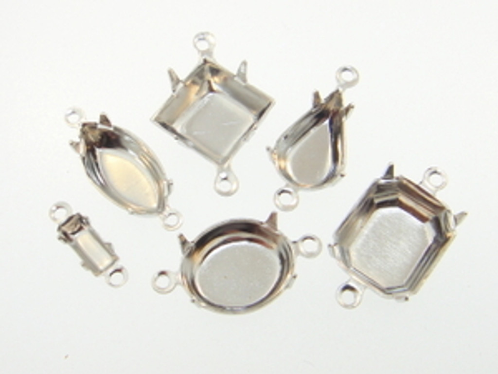 Rhodium Two Ring Settings 36 Pieces - Choose Size & Shape
