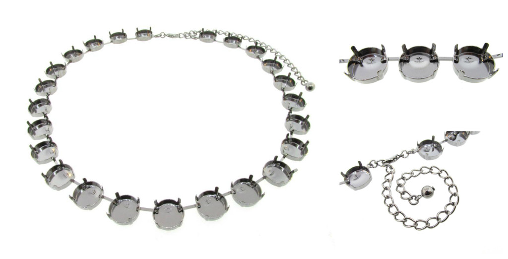 14mm Round | Classic 24 Setting Necklace | Three Pieces
