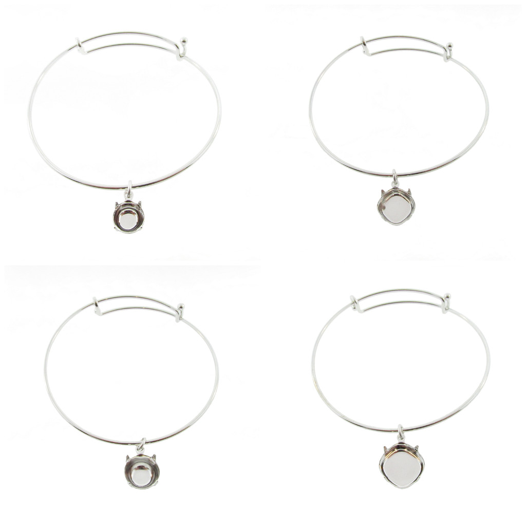 1.5mm Expandable Bracelets With Empty Setting in Rhodium
