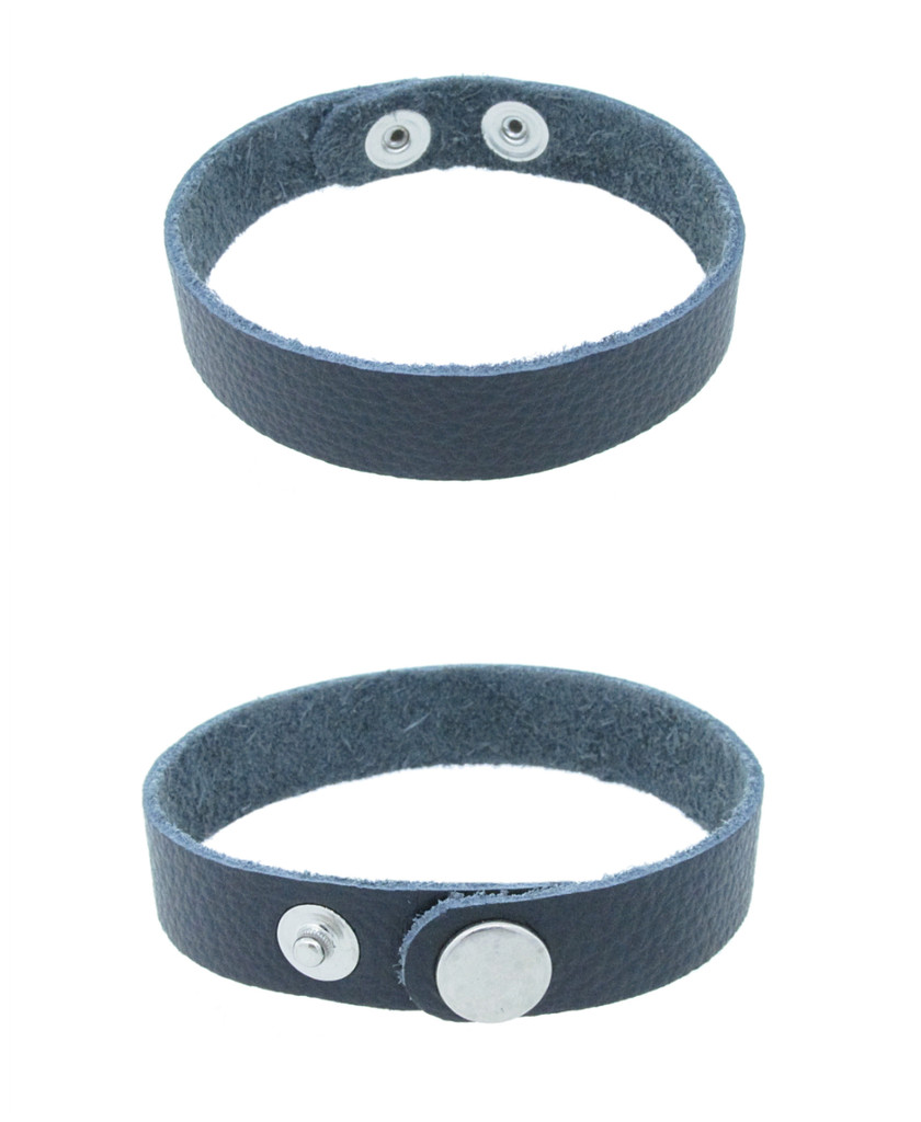 The Branded Leather Line - Classic Leather Bracelet In Textured Black With Rhodium Snap Closures 8in x 1/2in Made In The USA 3 Pieces