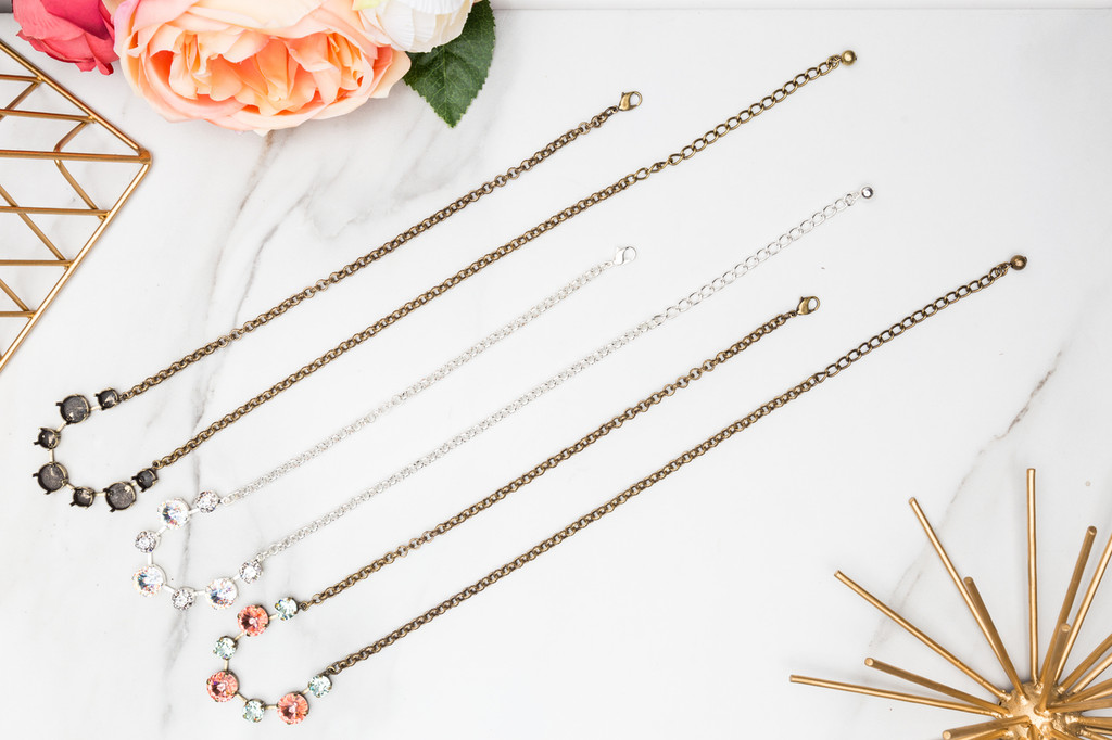8.5mm & 12mm Round | Alternating Seven Setting Necklace | Three Pieces