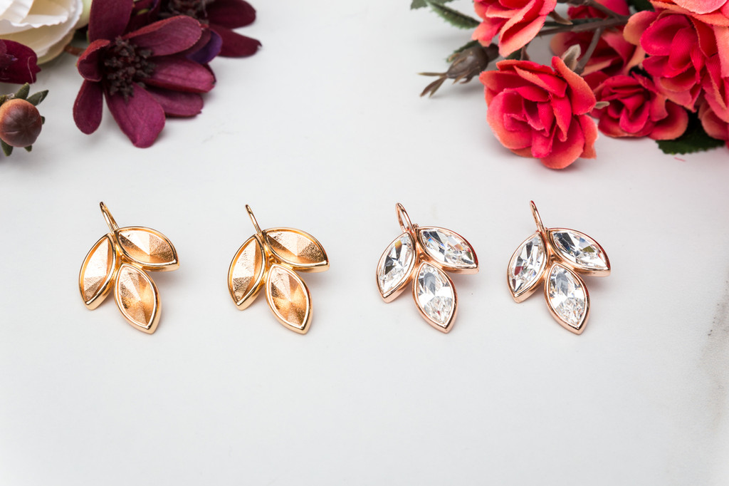 15mm x 7mm Navette | Three Setting Casted Drop Earrings | One Pair