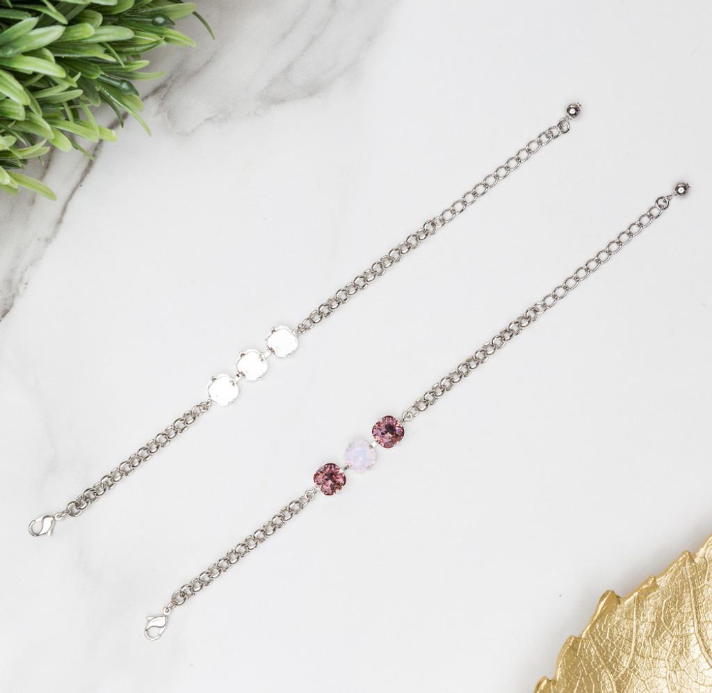 10mm Square | Classic Three Setting Bracelets | Three Pieces