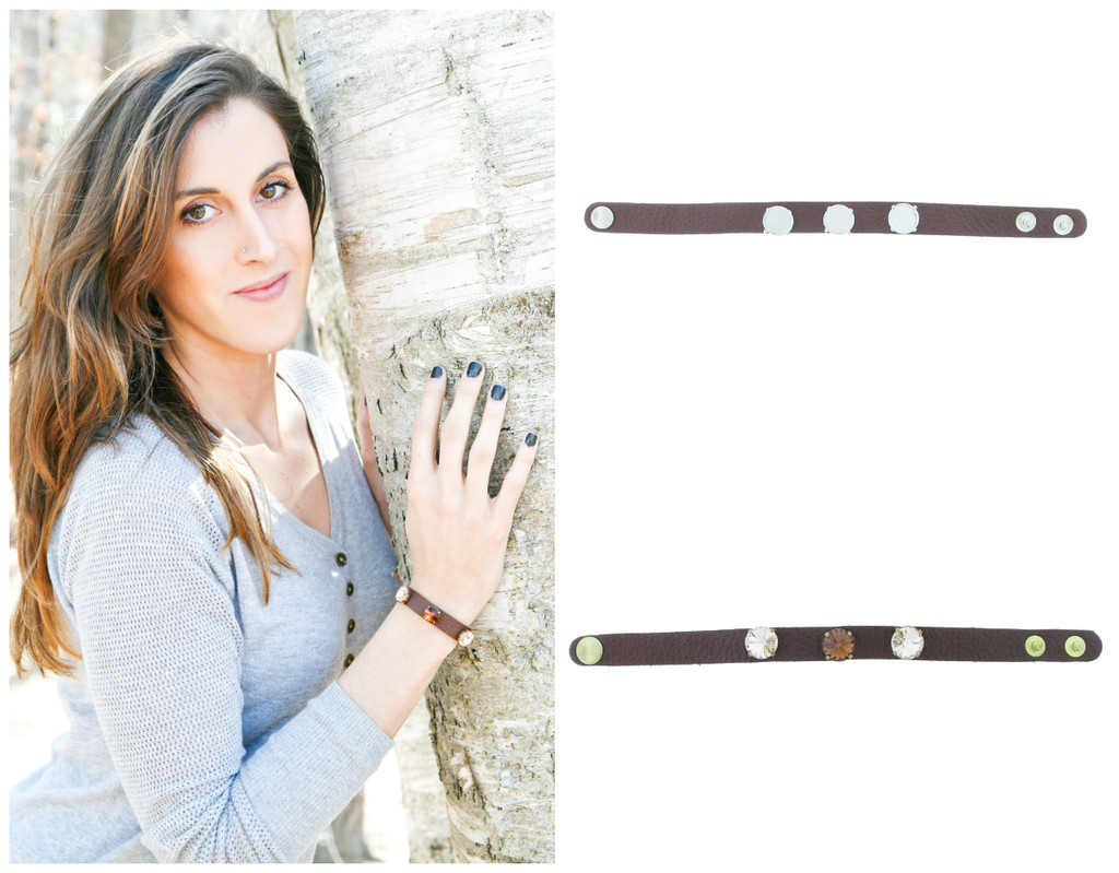 The Branded Leather Line - Classic Leather Bracelet With Three 12mm Rivoli Round Riveted Empty Settings
