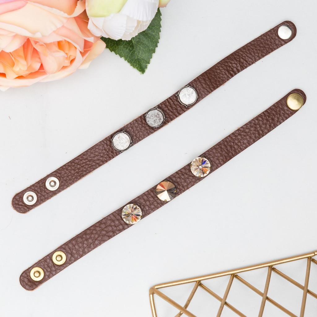 12mm Round | Three Setting Classic Leather Bracelet | One Piece