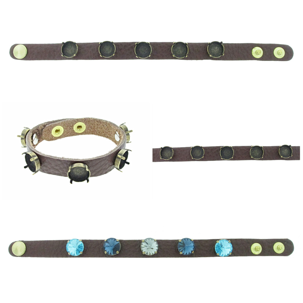 The Branded Leather Line - Classic Leather Bracelet With Five 12mm Rivoli Round Riveted Empty Settings
