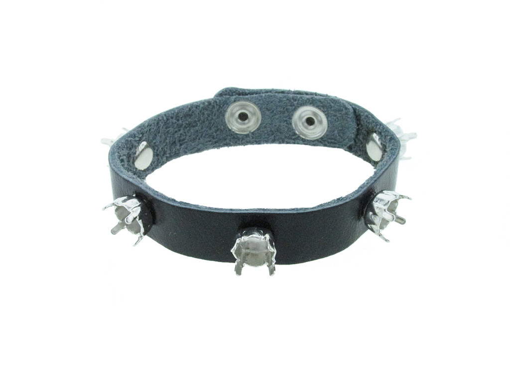 Shown with Rhodium Settings On A Black Gloss Leather Bracelet With Rhodium Snap Closures