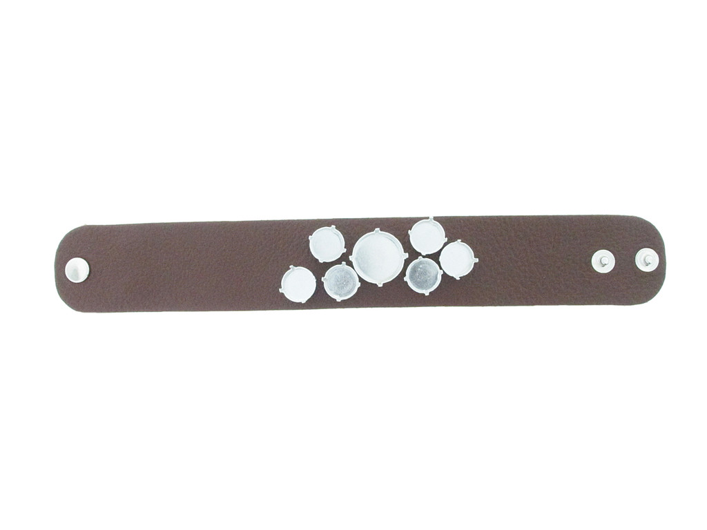 The Branded Leather Line - Wide Leather Bracelet With One 18mm Rivoli Round & Six 12mm Rivoli Round Riveted Empty Settings Made In The USA