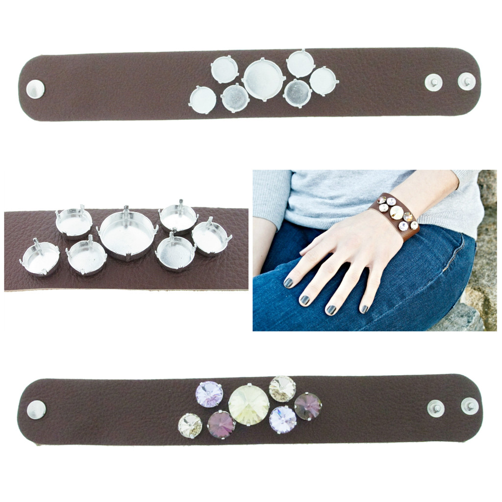 The Branded Leather Line - Wide Leather Bracelet With One 18mm Rivoli Round & Six 12mm Rivoli Round Riveted Empty Settings