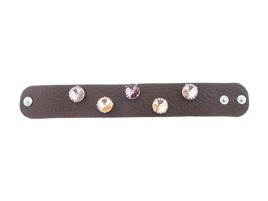 The Branded Leather Line - Wide Leather Bracelet With Five 14mm Rivoli Round Riveted Empty Settings Made In The USA