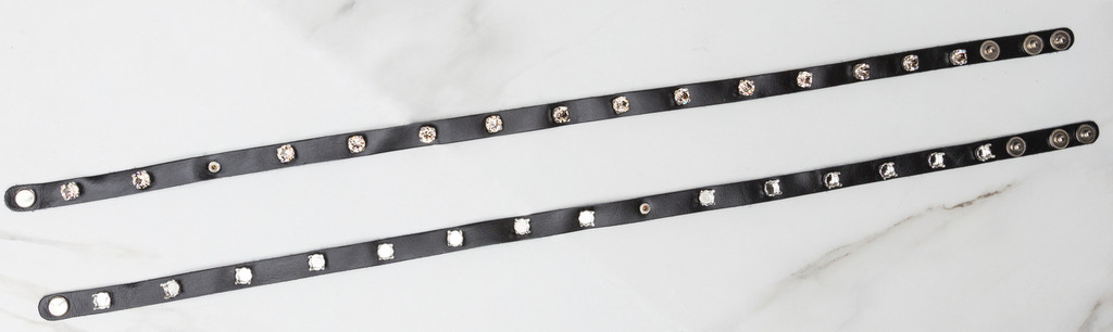 The Branded Leather Line - Wrap Leather Bracelet With Fifteen 8.5mm (39ss) Riveted Empty Settings Made In The USA 1 Piece