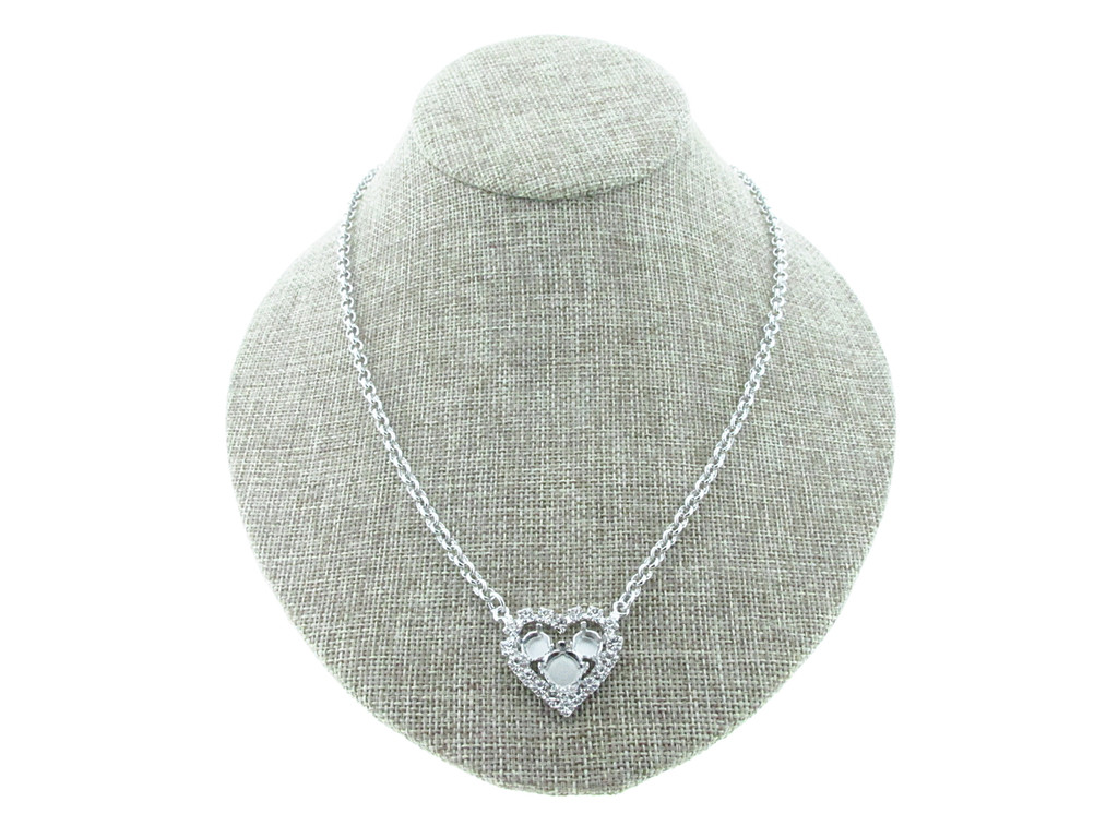 6mm (29ss) & 8.5mm (39ss) Small Heart With Crystal Rhinestones Empty Necklace