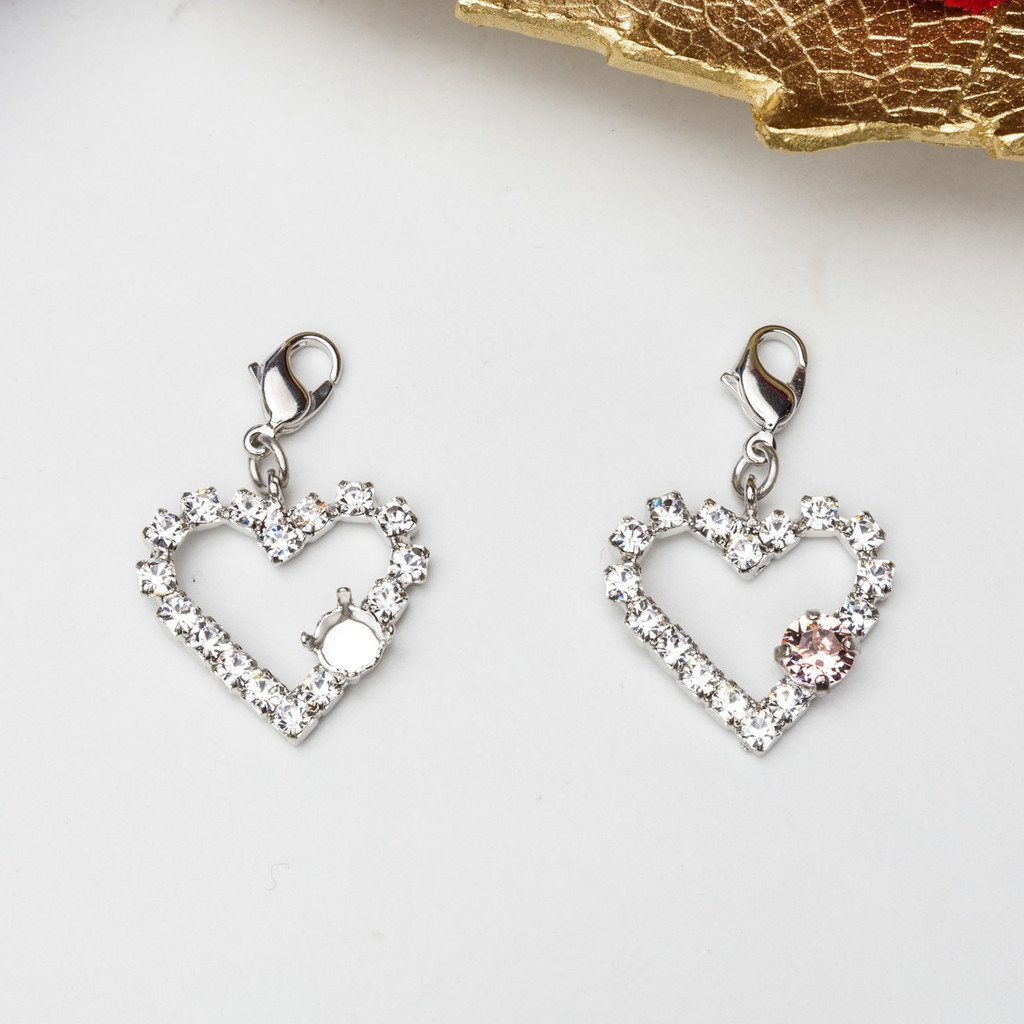 6mm | Small Heart Crystal Halo Necklace Enhancer | Three Pieces