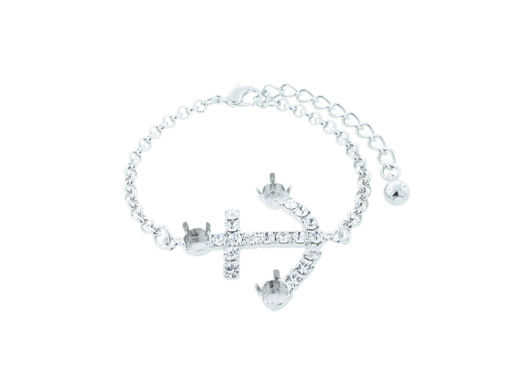 6mm (29ss) Empty Anchor Bracelet With Crystal Rhinestones Rhodium