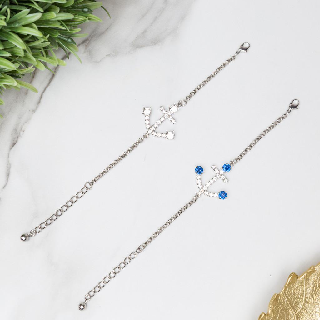 6mm | Anchor Crystal Rhinestone Bracelet | One Piece