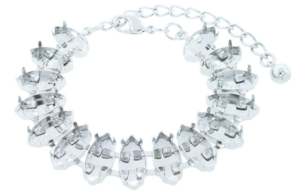 15mm x 7mm Navette 15 Box Empty Bracelet Rhodium