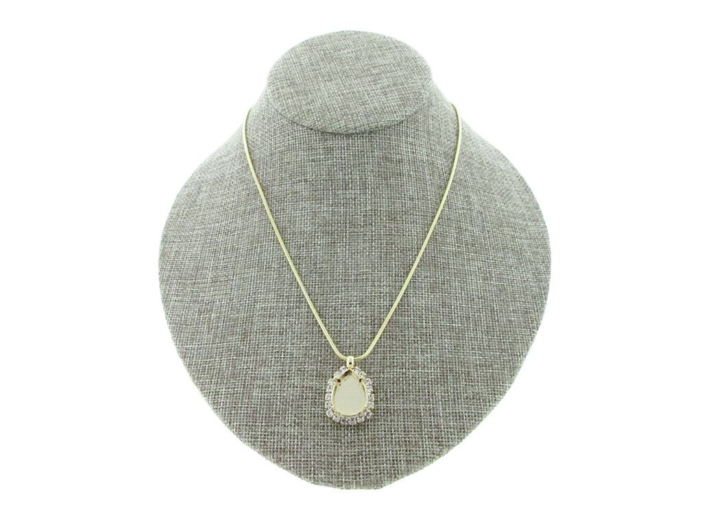 18mm x 13mm Pear With Crystal Rhinestones Empty Slider Pendant With Snake Chain In Gold Overlay