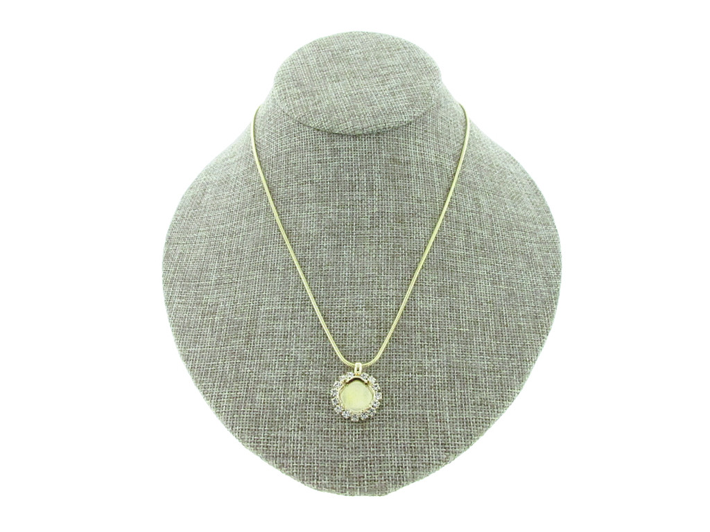 12mm Square Cushion Cut With Crystal Rhinestones Empty Slider Pendant With Snake Chain In Gold Overlay