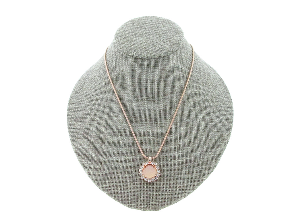 12mm Square Cushion Cut With Crystal Rhinestones Empty Slider Pendant With Snake Chain In Rose Gold